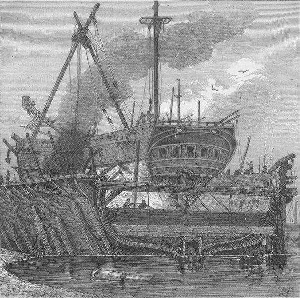 Associate Product ROTHERHITHE. Floating dock, Deptford (1820). London c1880 old antique print