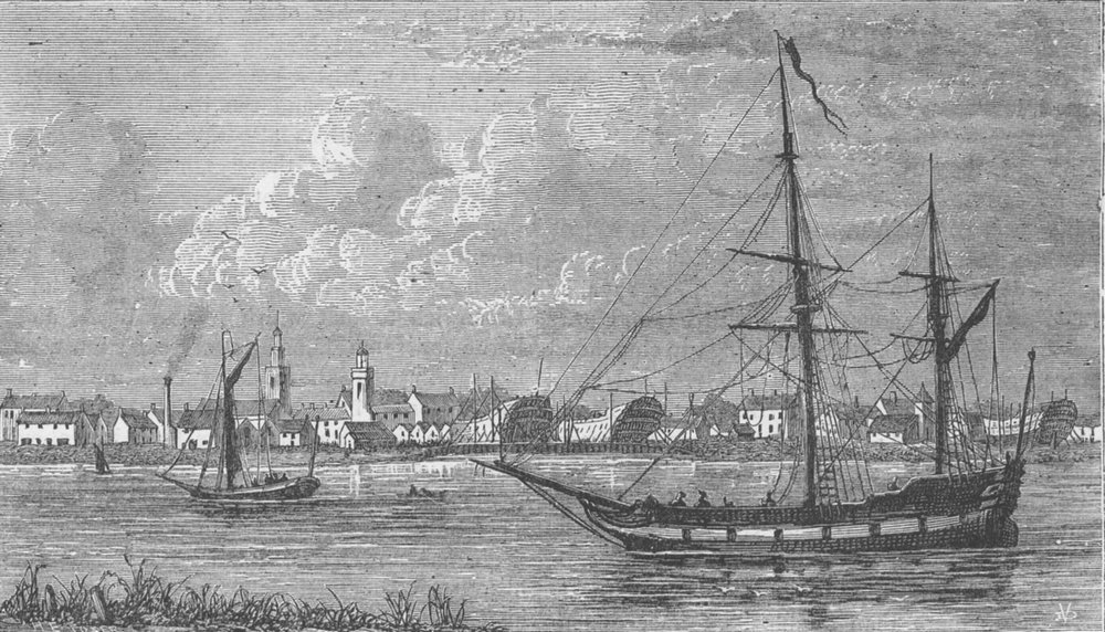 Associate Product DEPTFORD. The Royal dock, Deptford; End of seventeenth century. London c1880