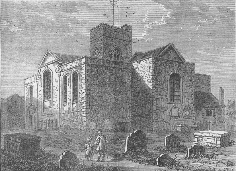 Associate Product DEPTFORD. St.Nicholas Church, Deptford, in 1790. London c1880 old print