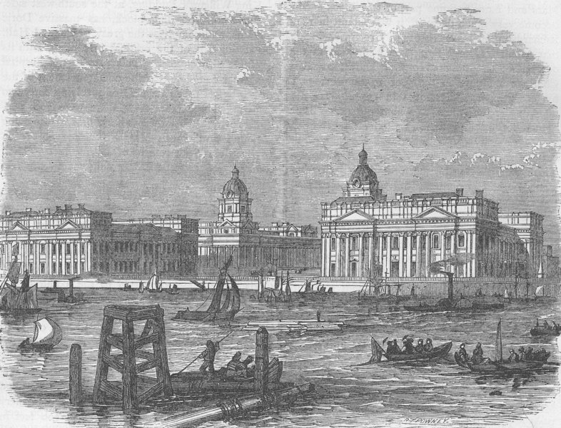 Associate Product GREENWICH. Greenwich Hospital, from the river. London c1880 old antique print