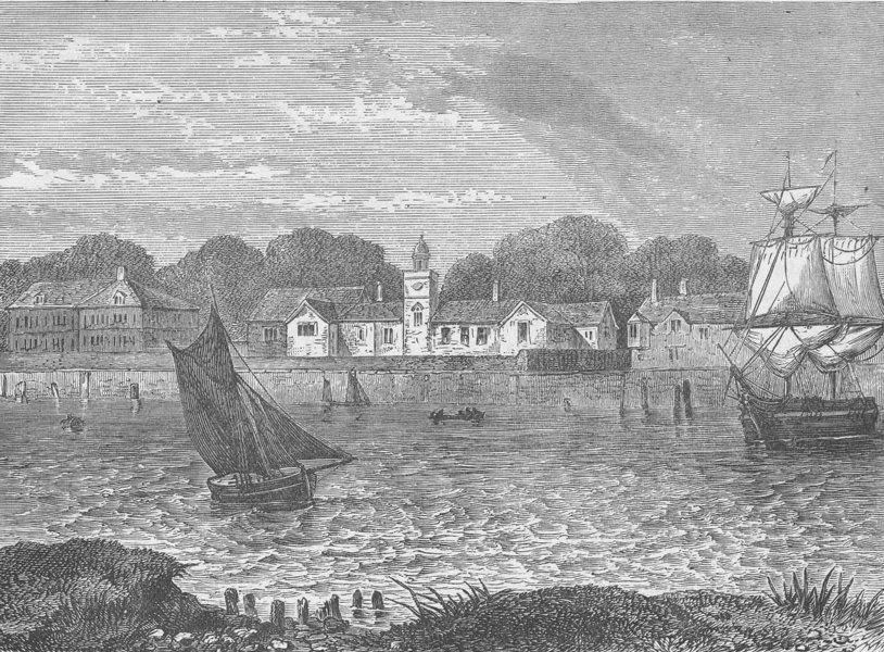 Associate Product GREENWICH. The duke of Norfolk's Almshouses, in 1796. London c1880 old print