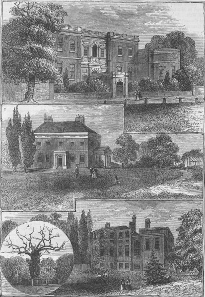Associate Product GREENWICH. Houses round Greenwich Park. London c1880 old antique print picture