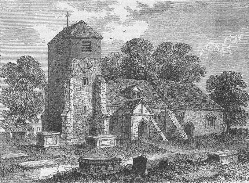 Associate Product LEE. Church of St Margaret of Antioch, in 1795. London c1880 old antique print