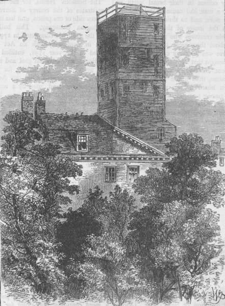 Associate Product ELEPHANT & CASTLE. The Telegraph Tower, in 1810. London c1880 old print
