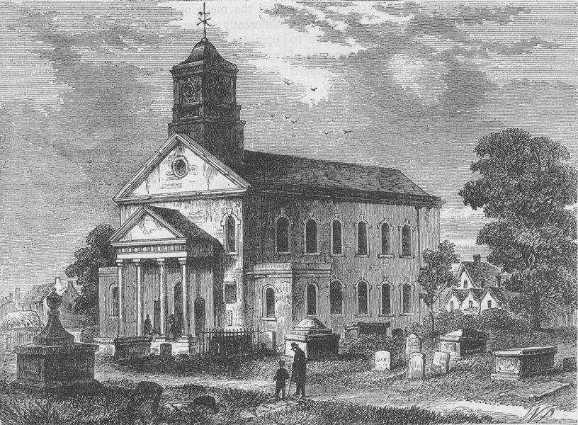 Associate Product NEWINGTON. Old Newington Church in 1866. London c1880 antique print