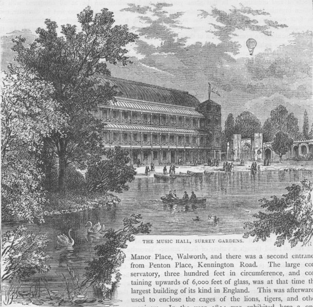 Associate Product KENNINGTON. The music Hall, Surrey Gardens. London c1880 old antique print