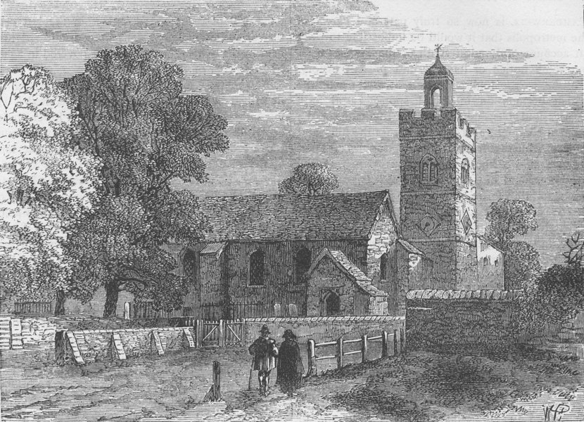 Associate Product CAMBERWELL. Ole Camberwell Church, in 1750. London c1880 old antique print