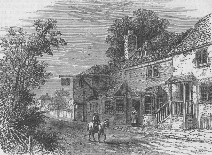 """Associate Product PECKHAM. The """"Rosemary Branch"""" tavern in 1800. London c1880 old antique print"""