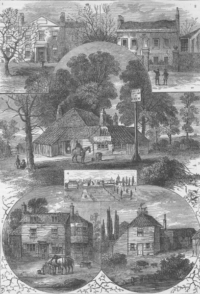 SOUTH LONDON. Views in Camberwell and Dulwich c1880 old antique print picture