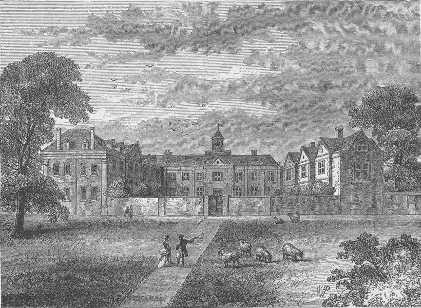 Associate Product DULWICH. Dulwich College in 1790. London c1880 old antique print picture