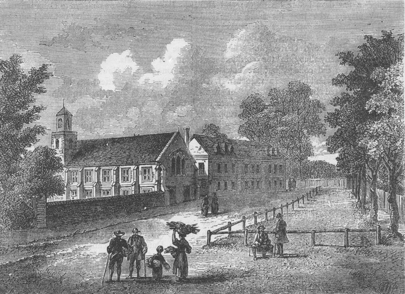Associate Product DULWICH. Dulwich College in 1750. London c1880 old antique print picture