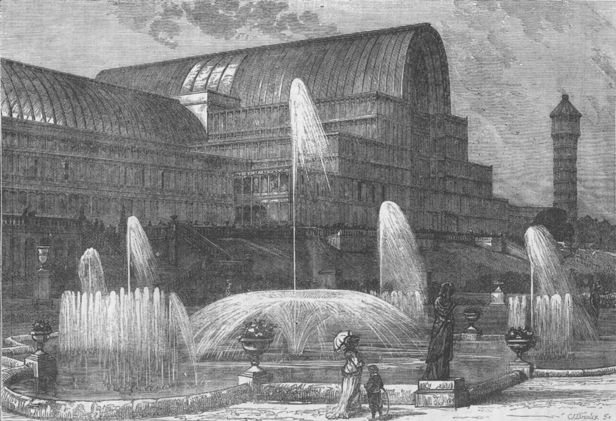 Associate Product SYDENHAM. The Crystal Palace, from the South. London c1880 old antique print