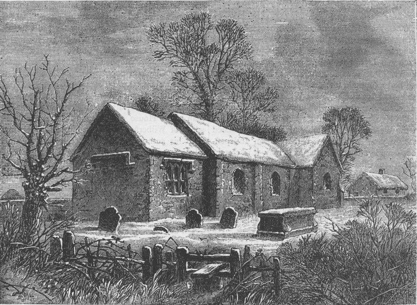 Associate Product CLAPHAM. Old Clapham Church, in 1750. London c1880 antique print picture