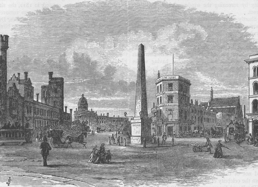 Associate Product ST.GEORGE'S FIELDS, SOUTHWARK. The obelisk in St.George's Circus. London c1880