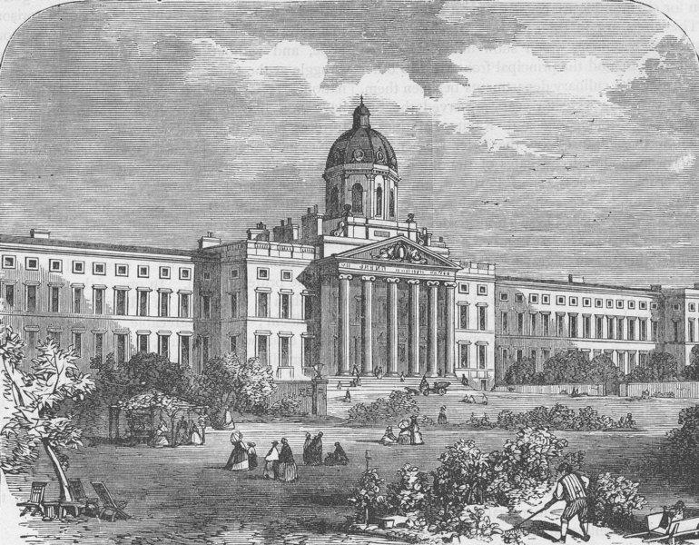 Associate Product ST.GEORGE'S FIELDS, SOUTHWARK. Bethlem Hospital. London c1880 old print
