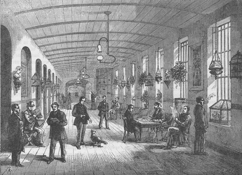 Associate Product ST.GEORGE'S FIELDS, SOUTHWARK. A ward in Bethlem Hospital. London c1880 print