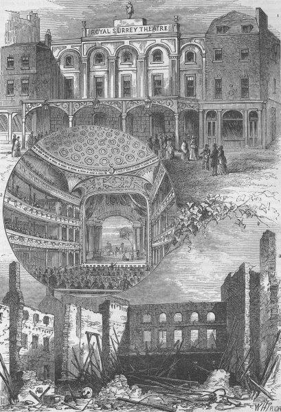 Associate Product BLACKFRIARS ROAD, SOUTHWARK. The Surrey Theatre. London c1880 old print