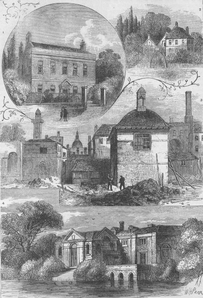 Associate Product LAMBETH. Old views in Lambeth. London c1880 antique vintage print picture