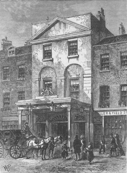Associate Product LAMBETH. Entrance to Astley's Theatre, in 1820. London c1880 old antique print