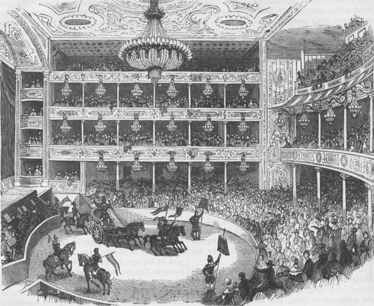 Associate Product LAMBETH. Interior of Astley's amphitheatre, in 1843. London c1880 old print