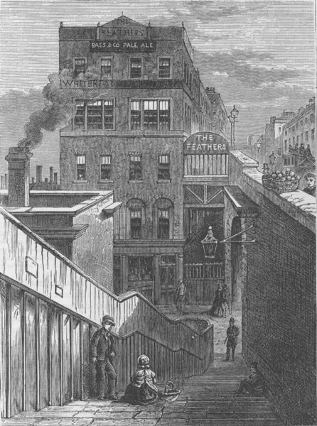 Associate Product LAMBETH. The Houses in Waterloo Bridge Road. London c1880 old antique print