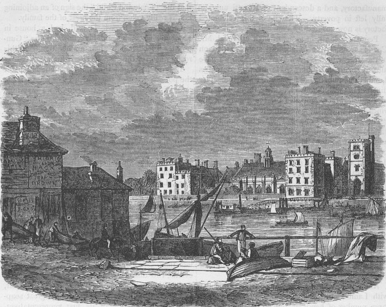 Associate Product LAMBETH PALACE. Lambeth Palace, from Millbank, in 1860. London c1880 old print