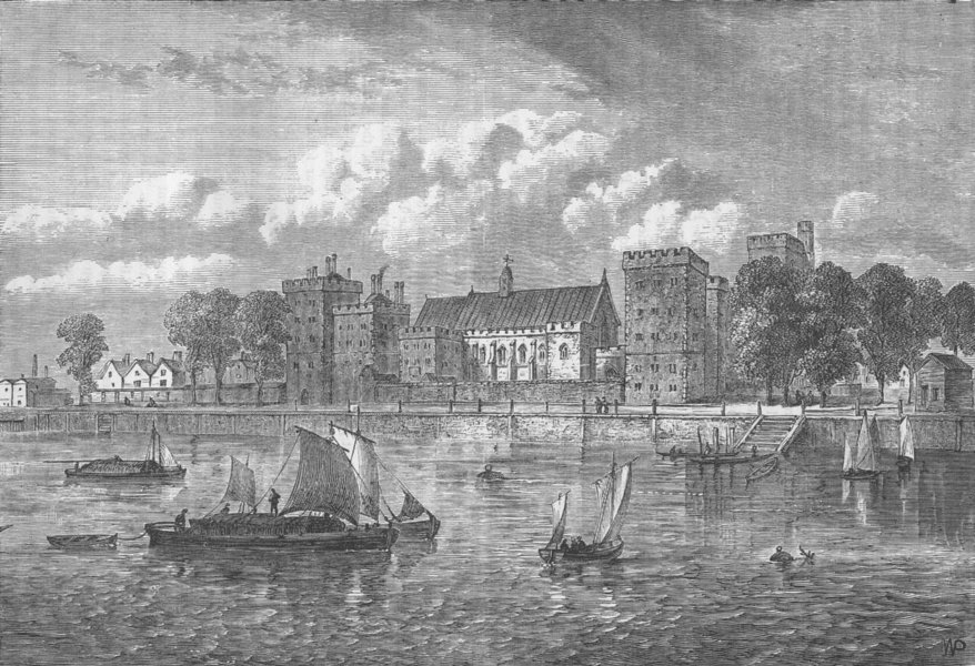 Associate Product LAMBETH PALACE. Lambeth Palace, from the river, 1709. London c1880 old print