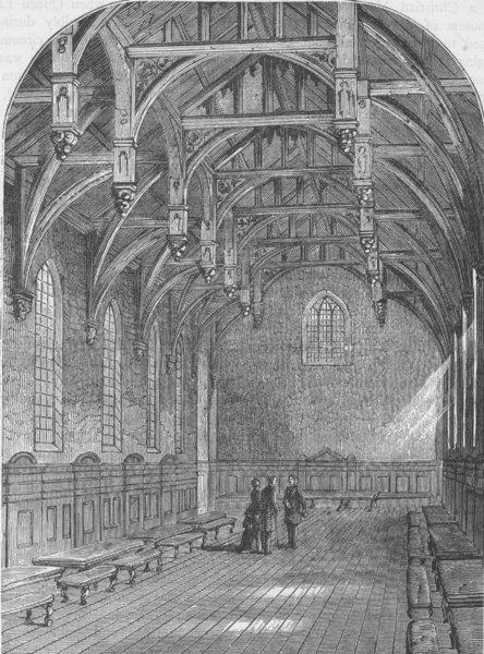 Associate Product LAMBETH PALACE. Interior of the Great Hall, Lambeth Palace, 1800. London c1880