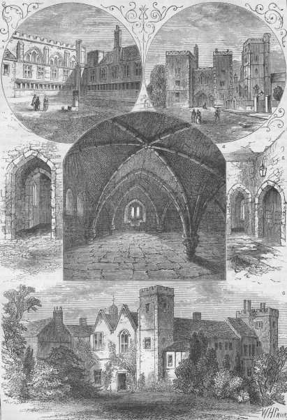 Associate Product LAMBETH PALACE. Lambeth Palace. London c1880 old antique vintage print picture