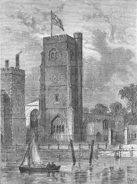 Associate Product LAMBETH PALACE. Lambeth Church, 1825. London c1880 old antique print picture