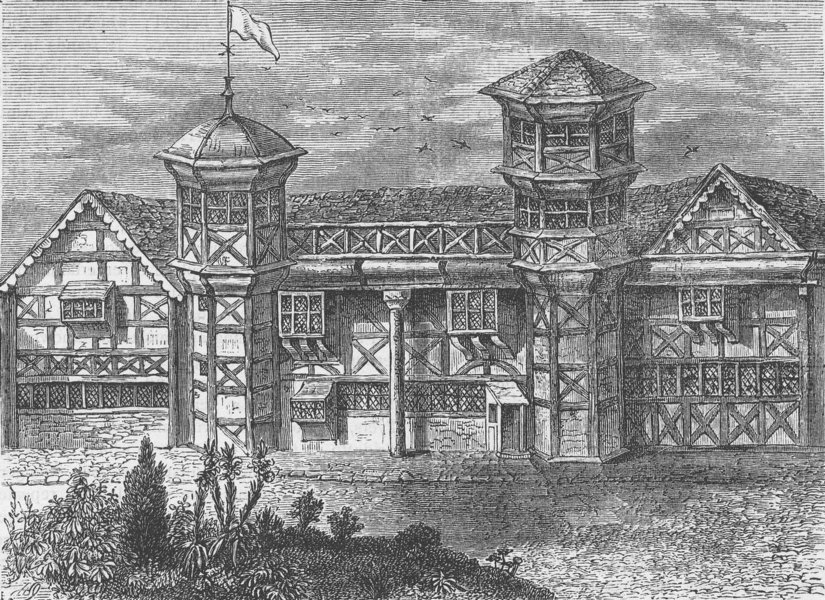 Associate Product VAUXHALL. The old manor-House at Vauxhall, about 1800. London c1880 print