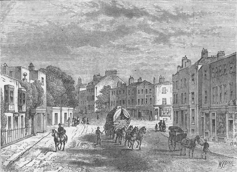 Associate Product VAUXHALL. The old village, with entrance to the gardens, in 1825. London c1880