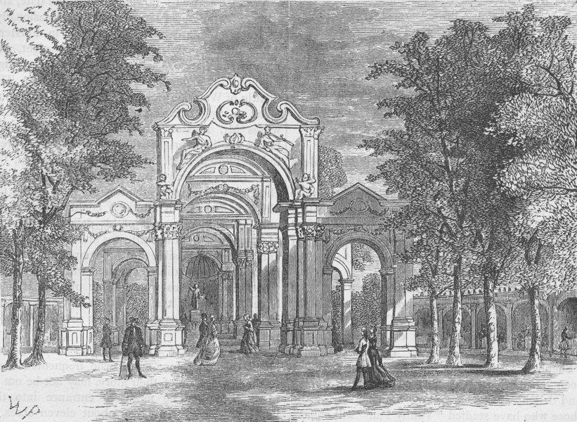 Associate Product VAUXHALL. The Italian Walk, Vauxhall Gardens. London c1880 old antique print