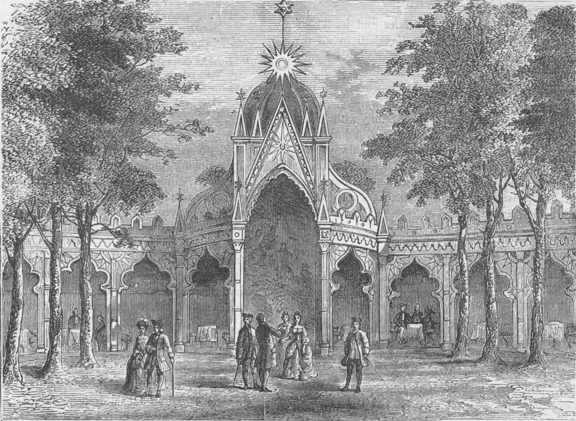 Associate Product VAUXHALL. Chinese Pavilion in Vauxhall Gardens. London c1880 old antique print