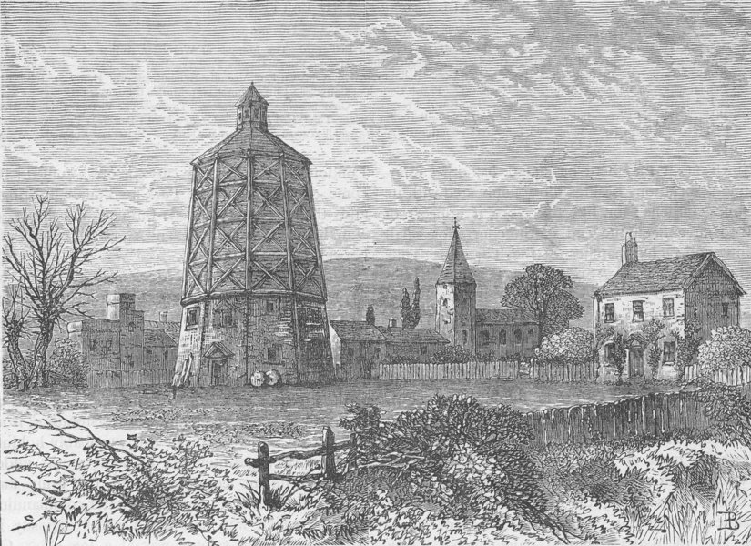 Associate Product VAUXHALL. Old Battersea Mill, about 1800 c1880 antique print picture