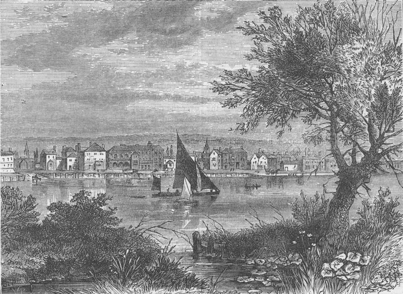 Associate Product WANDSWORTH. View of Wandsworth, in 1790. London c1880 old antique print