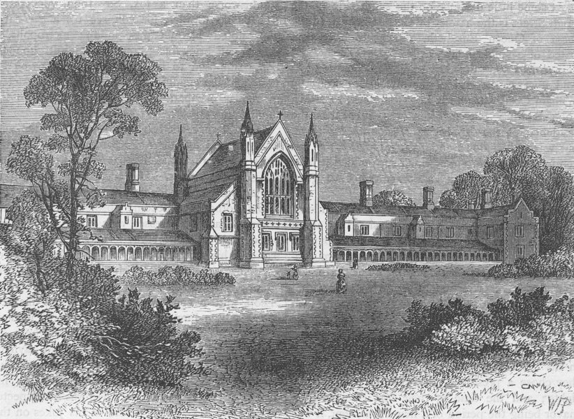 Associate Product WANDSWORTH. The fishmongers' Almshouses, Wandsworth. London c1880 old print