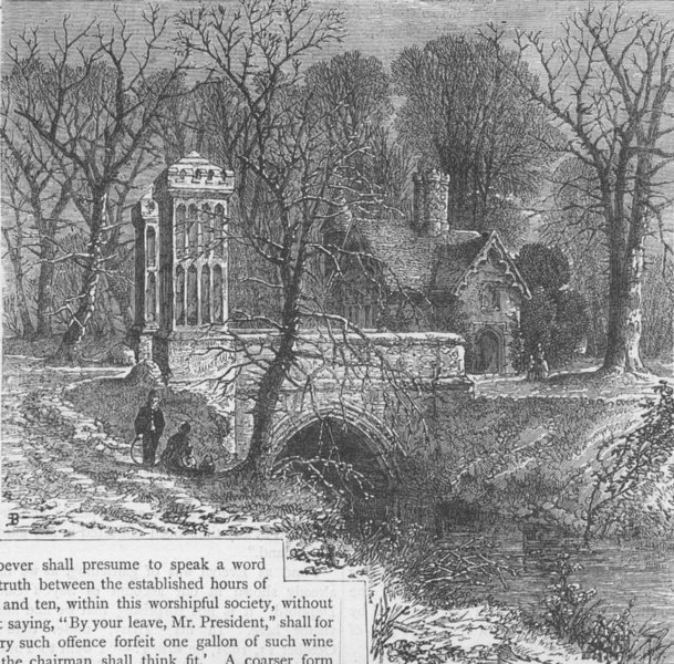 Associate Product FULHAM. The moat, Fulham Palace. London c1880 old antique print picture