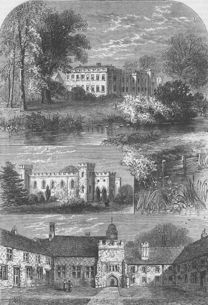 Associate Product FULHAM. Fulham Palace, in 1798. London c1880 old antique vintage print picture