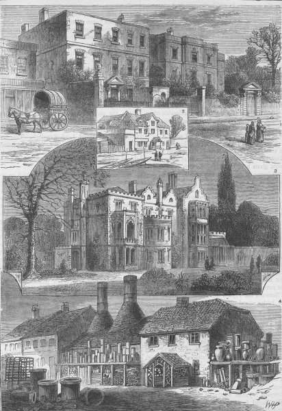 Associate Product FULHAM. In and about Fulham. London c1880 old antique vintage print picture