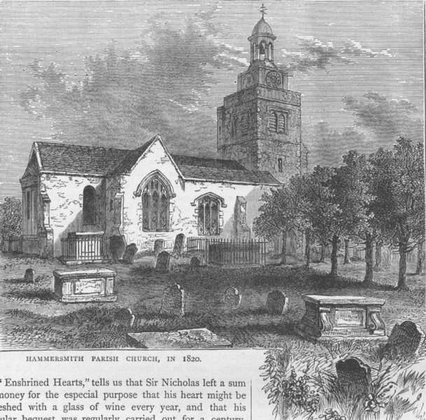 Associate Product HAMMERSMITH. The Parish Church, in 1820. London c1880 old antique print