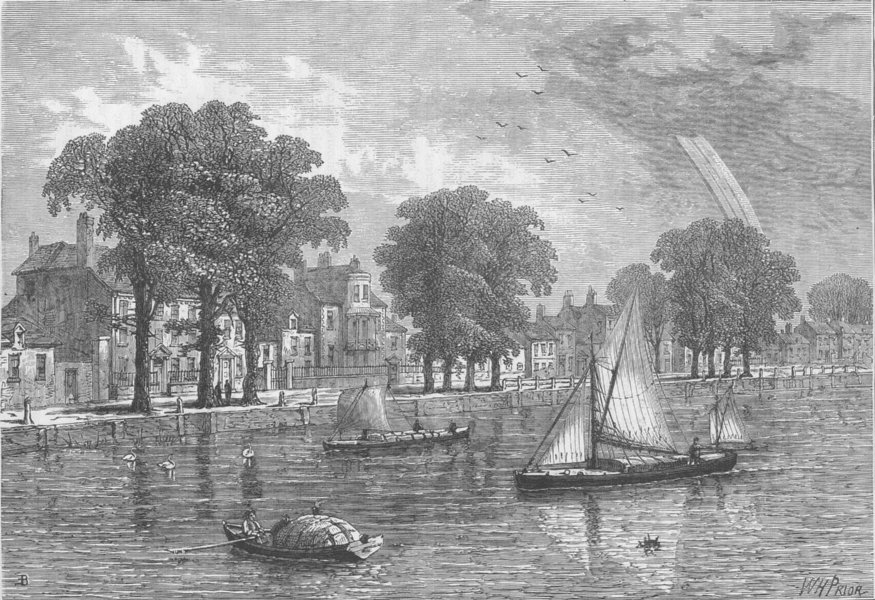 HAMMERSMITH. Hammersmith Mall, in 1800. London c1880 old antique print picture