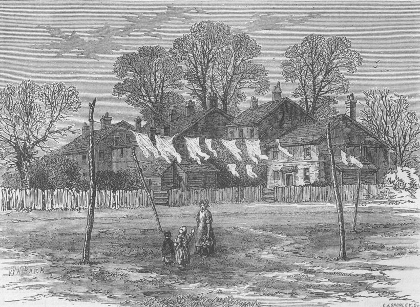 Associate Product CHISWICK. Old cottages on back common. London c1880 antique print picture