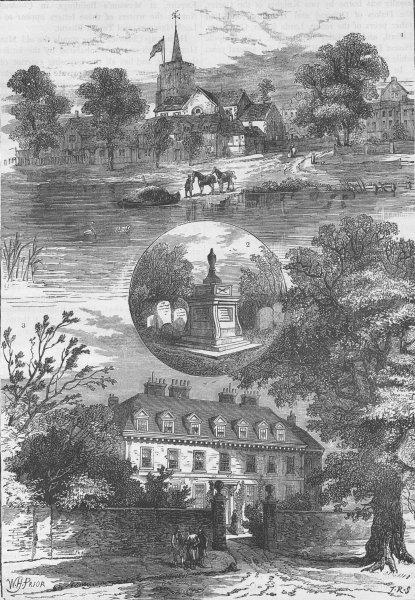 Associate Product CHISWICK. Chiswick Church, 1760; Hogarth's Tomb, 1860; Manor House, 1850 c1880