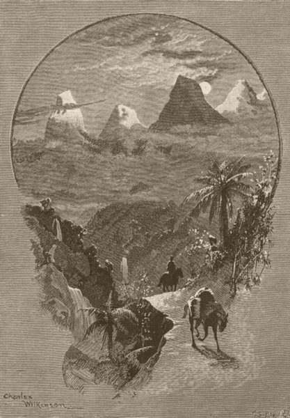 Associate Product AUSTRALIA. Alps. Mount Kosciusko, moonlight 1890 old antique print picture