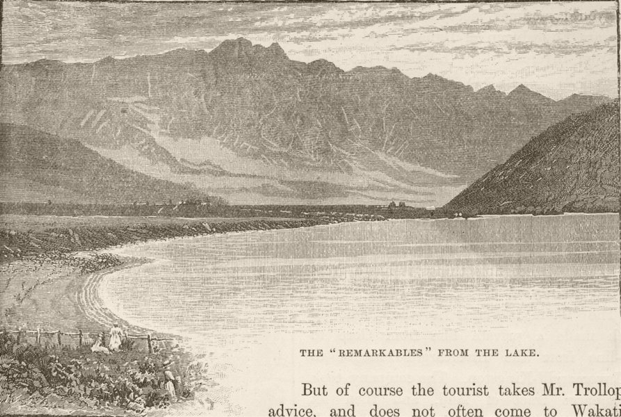 Associate Product NEW ZEALAND. Lake Wakatipu. Remarkables from 1890 old antique print picture
