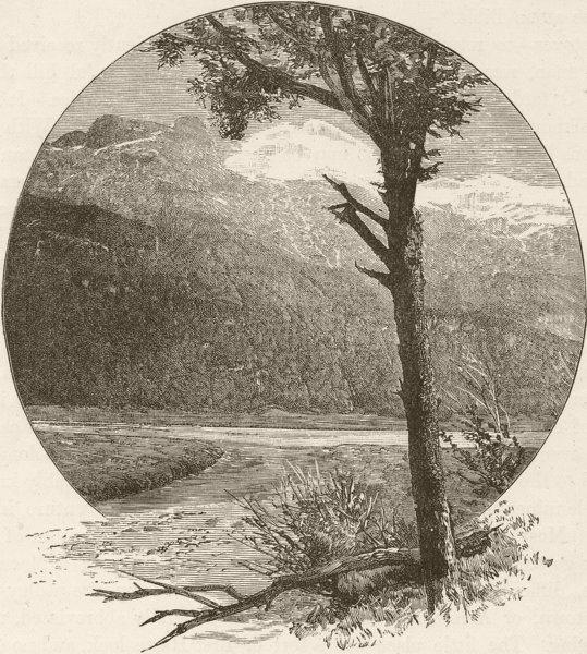 Associate Product NEW ZEALAND. Lake Wakatipu. Mount Earnslaw 1890 old antique print picture