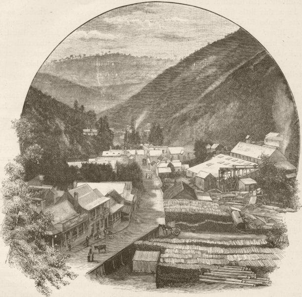 Associate Product AUSTRALIA. Gippsland. Walhalla 1890 old antique vintage print picture