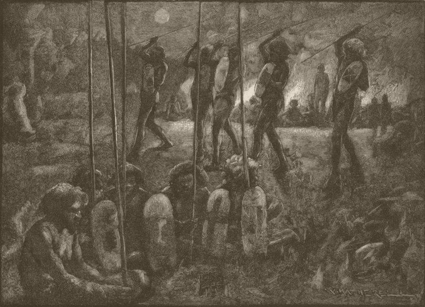 Associate Product AUSTRALIA. Aborigines. corroboree 1890 old antique vintage print picture