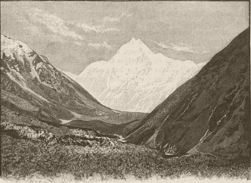 Associate Product NEW ZEALAND. Mount Cook- 1890 old antique vintage print picture